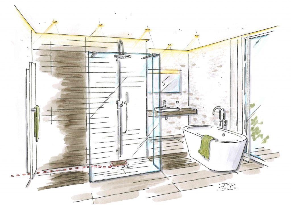 Skizzierung des neuen Badezimmers